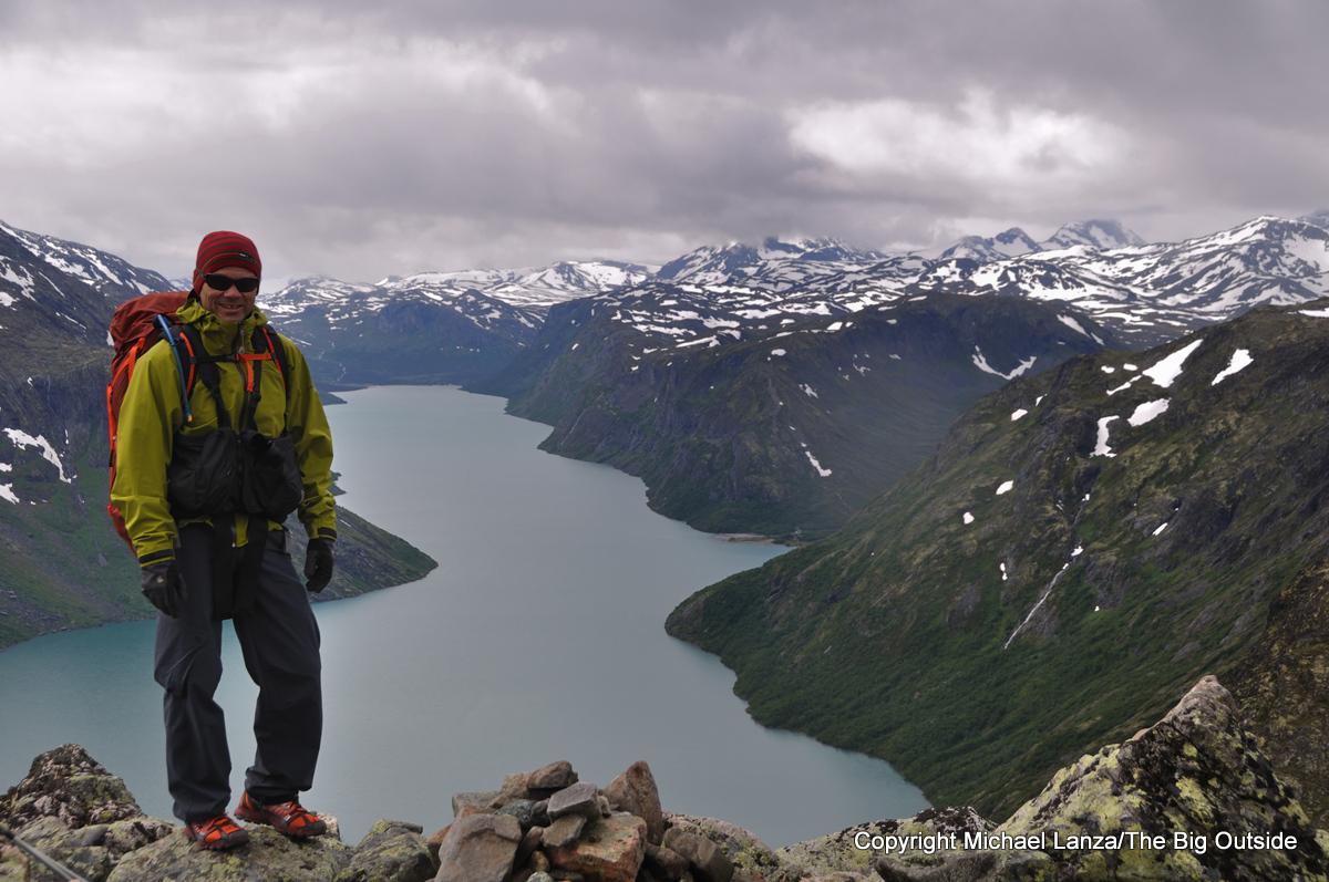 Michael Lanza of The Big Outside hiking Besseggen Ridge above Lake Gjende in Norway's Jotunheimen National Park.