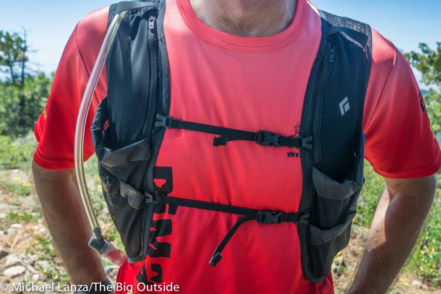 The Black Diamond Distance 15 running hydration vest.