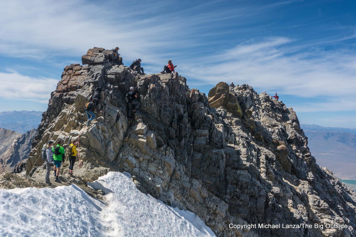 Looking down on Chickenout Ridge on the Southwest Ridge route up Idaho's 12,662-foot Borah Peak.