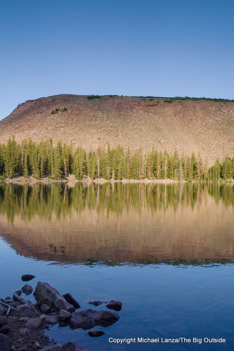 Morning at the Fourth Chain Lake along the Chain Lakes Atwood Trail 43, High Uintas Wilderness, Utah.
