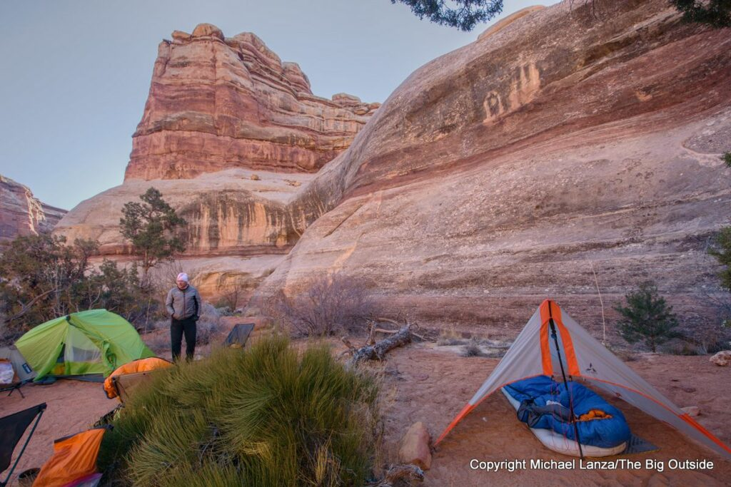 A backpacker campsite in the Maze District, Canyonlands National Park.