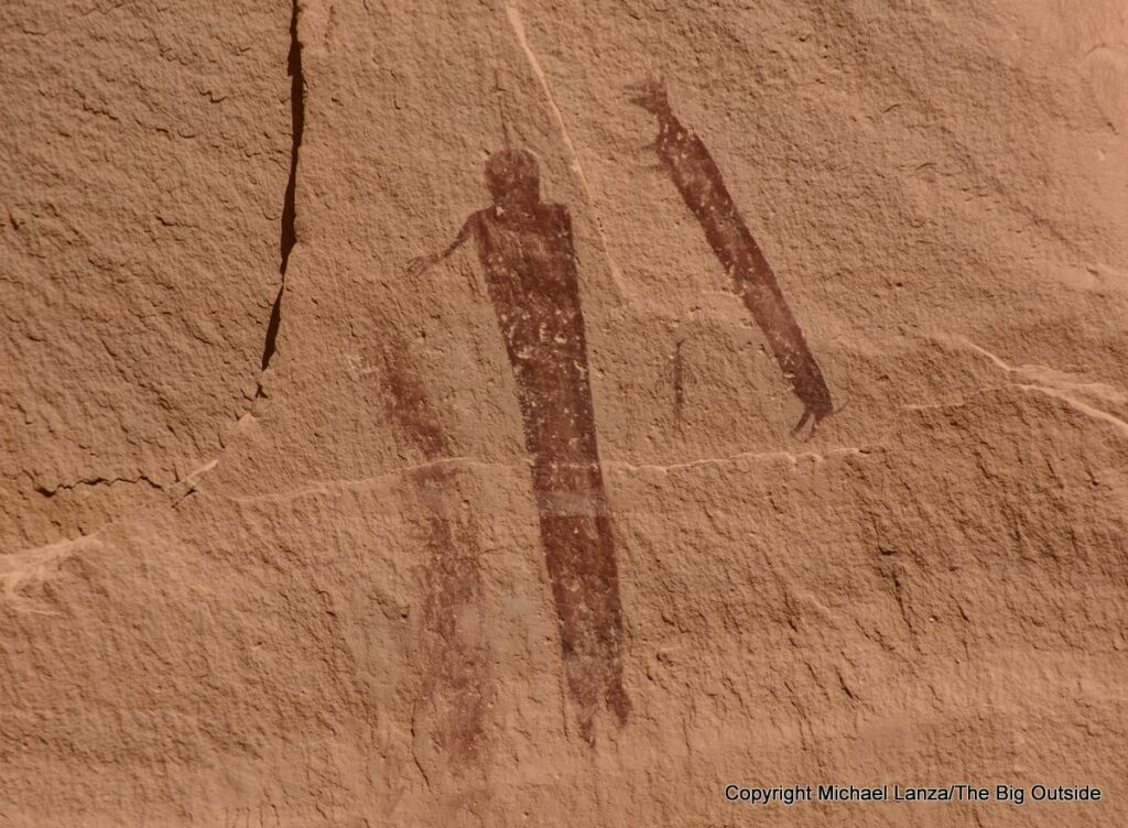 The Harvest Scene pictographs on the Chimney Route in the Maze District, Canyonlands National Park.