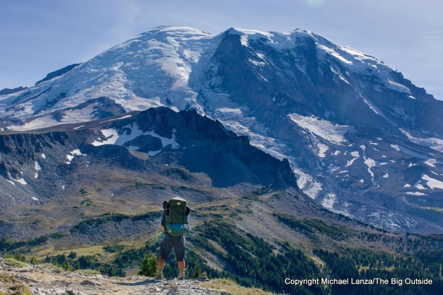 A backpacker on the Wonderland Trail in Mount Rainier National Park.