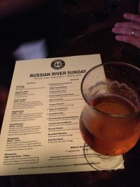 A pint of Pliny The Elder and the Russian River tap list.