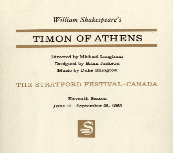 Program from 1963 Stratford Festival production (courtesy canadianshakespeares.ca)