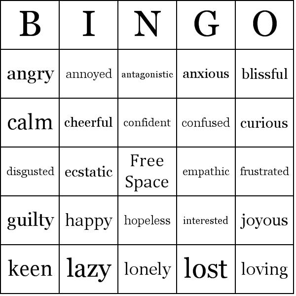 Feelings And Emotions Bingo Cards