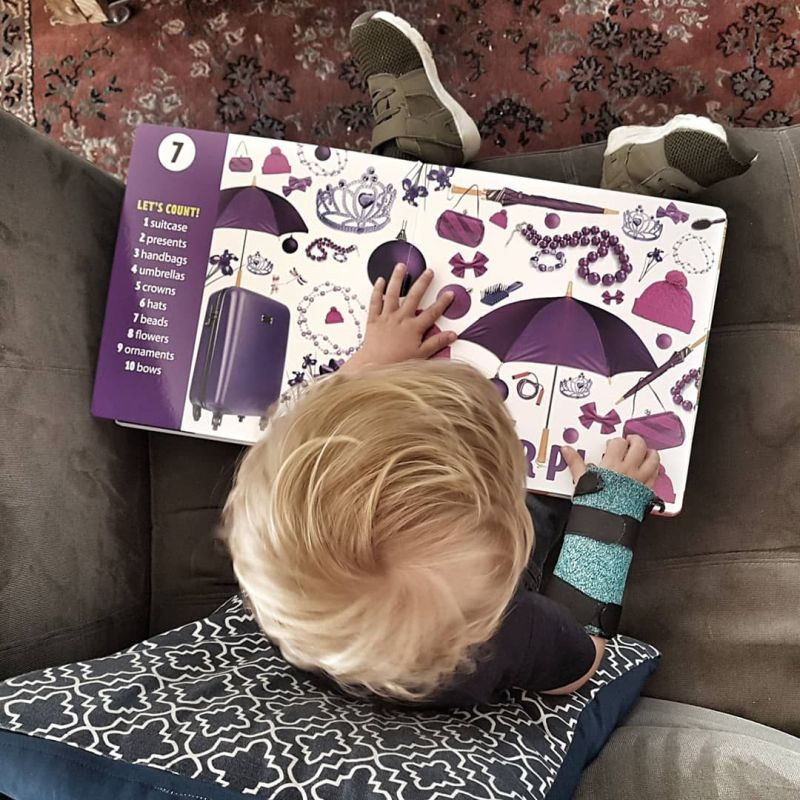 J reading Clever Count book