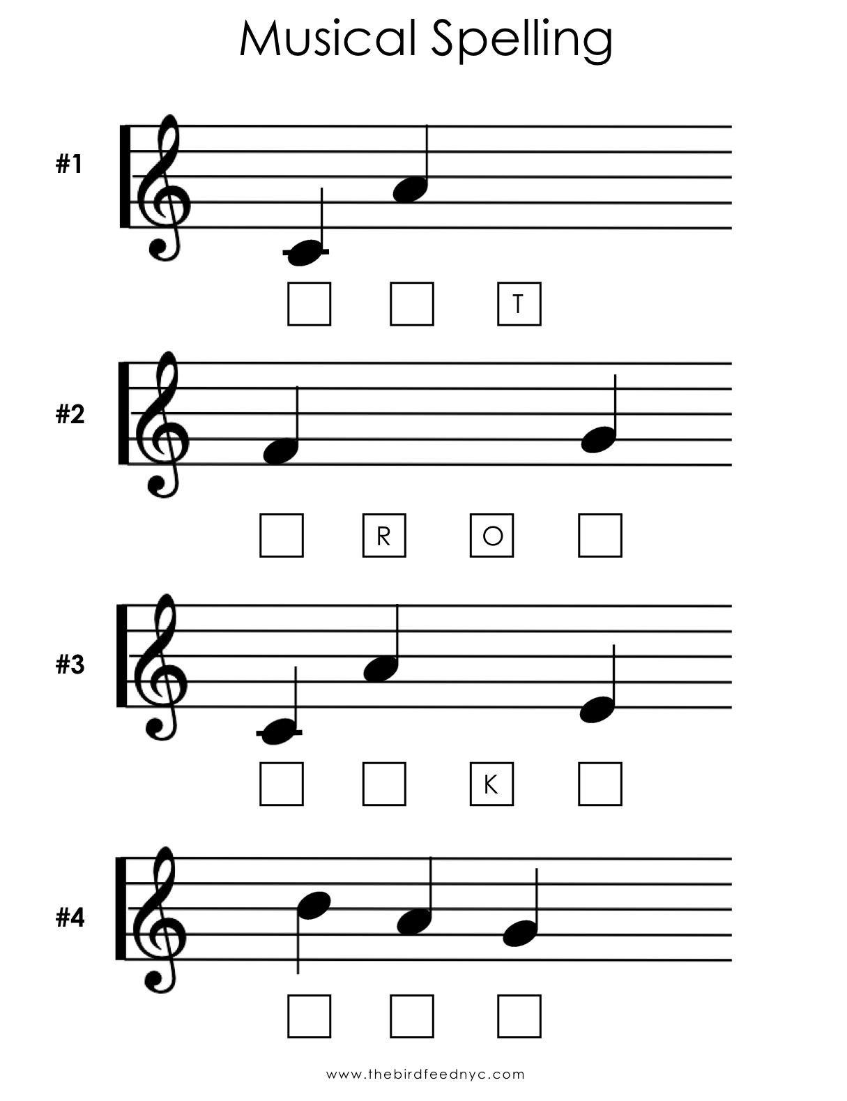 Musical Spelling Activity Sheet For Kids