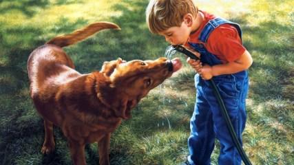child_boy_dog_water_hose_thirst_54714_1920x1080