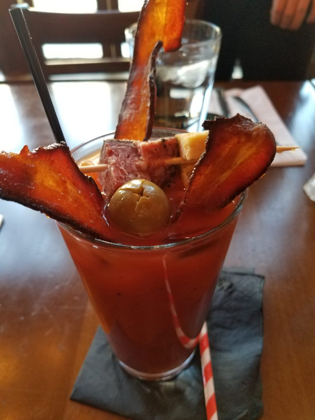 The Bloody Mary from Union Street in Detroit, MI comes with spicy honey bacon.