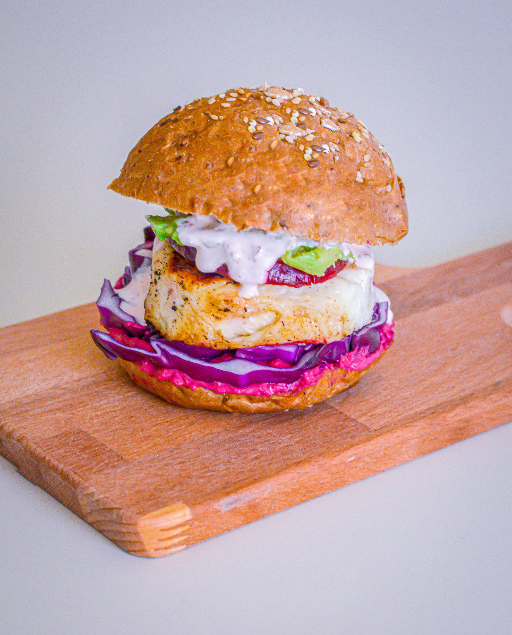 Halloumi Burger with Beetroot Mutabbal