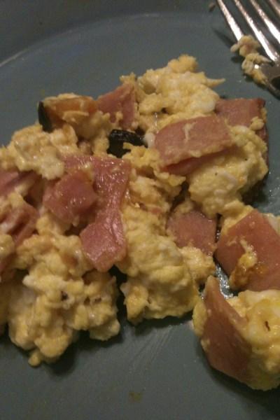 scrambled egg with ham and kabocha