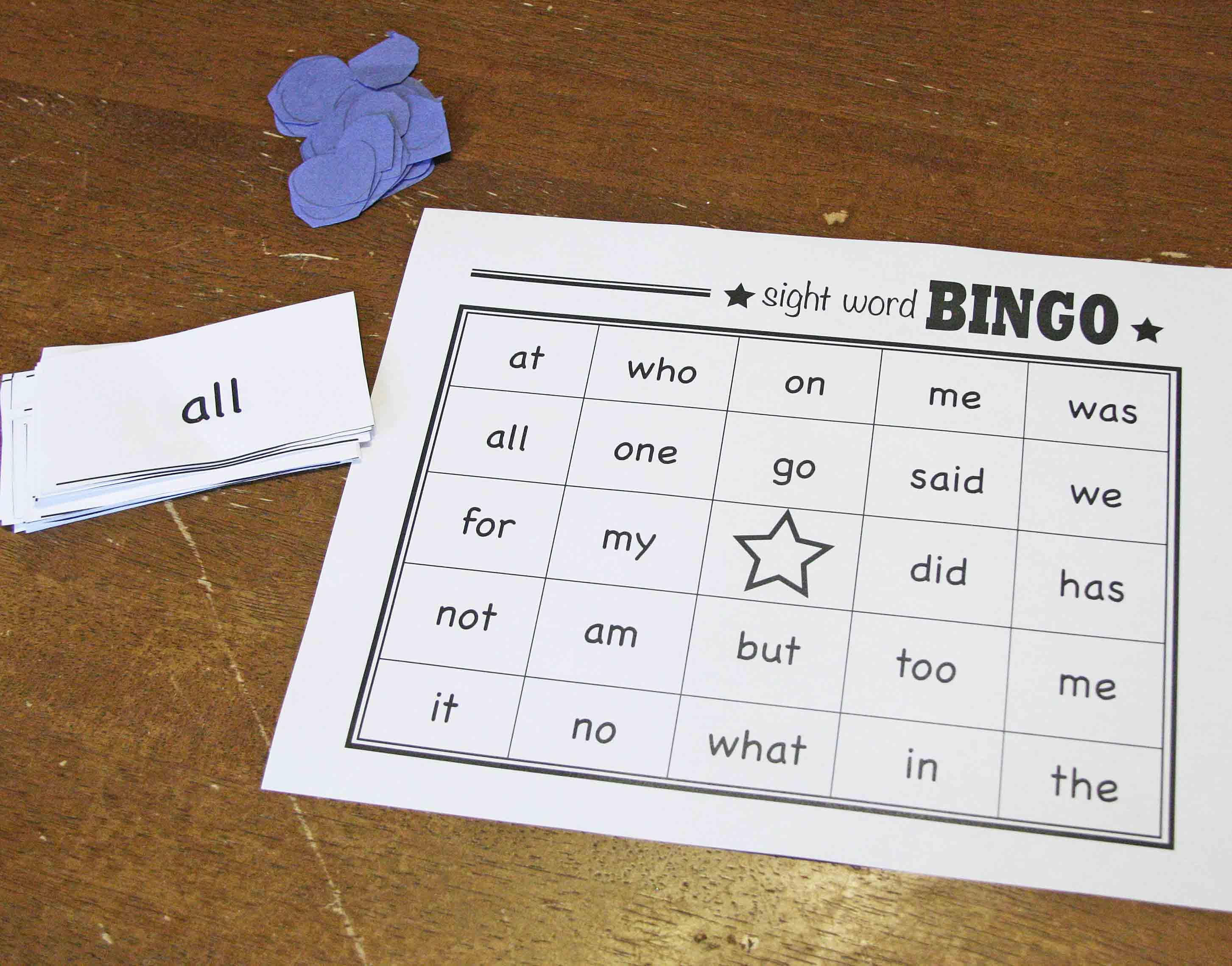 Sight Word Bingo Game The B Keeps Us Honest