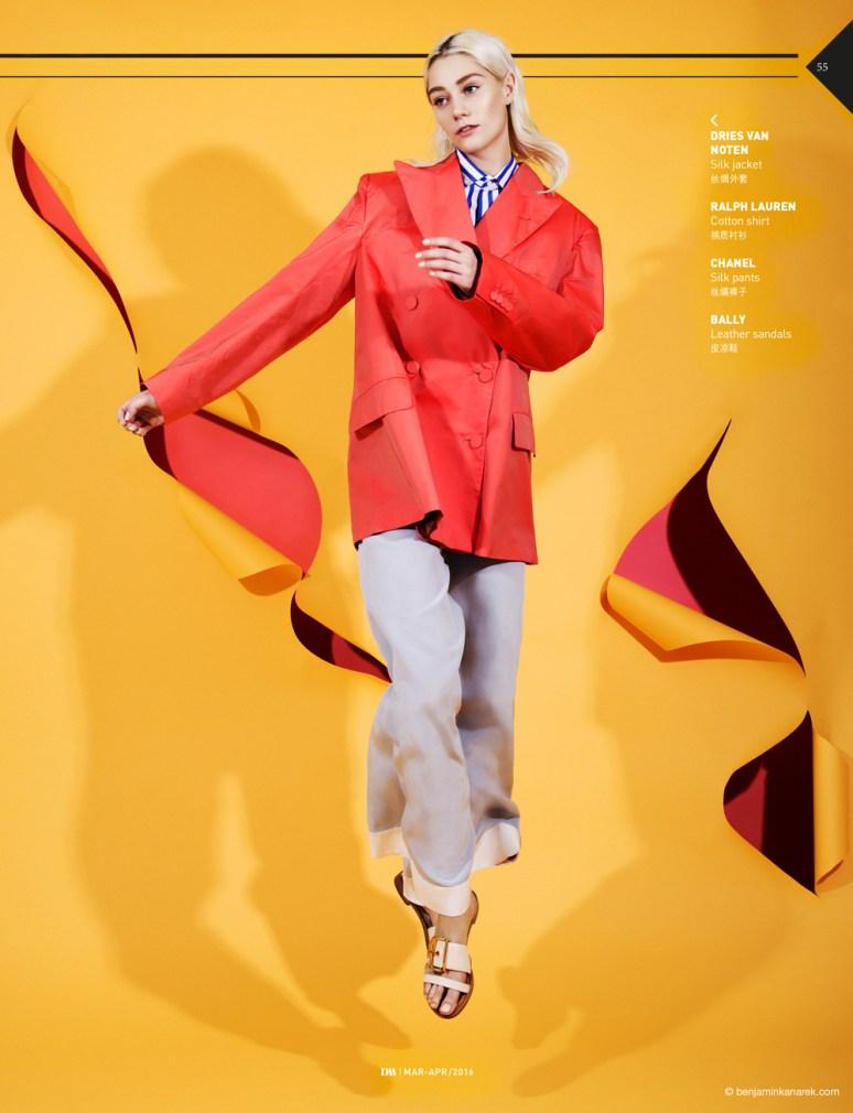 Lidia Judickaite wearing Dries Van Noten, Ralph Lauren, Chanel and Bally © Benjamin Kanarek for DM