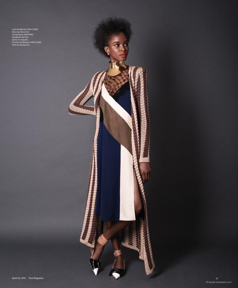 Kad Diallo wearing Balmain, Diane von Furstenberg an Dior © Benjamin Kanarek