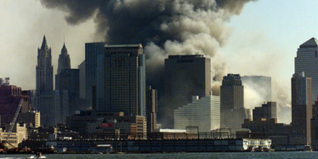 NEW YORK (Sept. 11, 2001) Smoke rises from where the World Trade Centers once stood. USCG photo by PA2 Tom Sperduto.