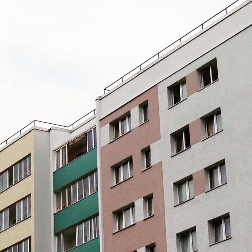 pastel coloured apartment buildings