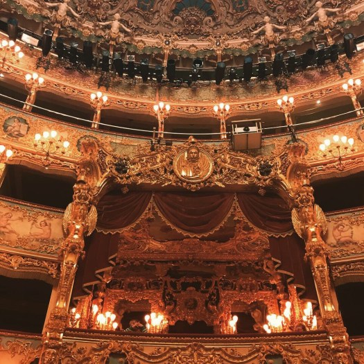 Photo of the royal box at La Fenice covered in ornate gold guild