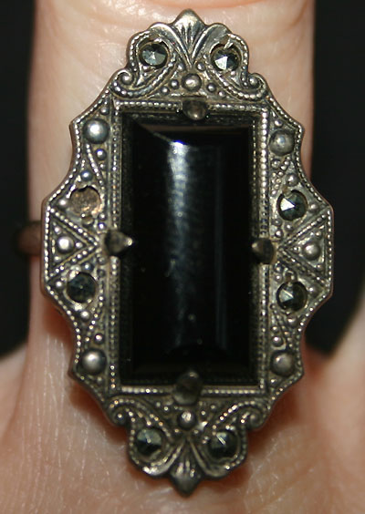 Vintage Art Deco Onyx Marcasite Sterling Silver Ring 55