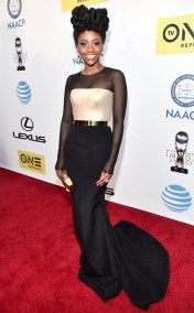 TEYONAH HARRIS NAACP IMAGE AWARDS 2016 RED CARPET