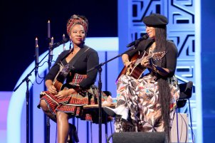 LAS VEGAS, NV - NOVEMBER 06: Singer India.Arie (L) and host Erykah Badu perform onstage during the 2016 Soul Train Music Awards on November 6, 2016 in Las Vegas, Nevada.5 (Photo by Leon Bennett/BET/Getty Images for BET)