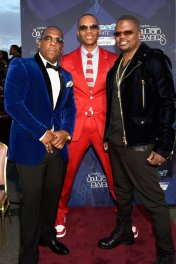 LAS VEGAS, NV - NOVEMBER 06: (L-R) Singers Michael Bivins, Ronnie DeVoe and Ricky Bell of Bell Biv DeVoe and New Edition attend the 2016 Soul Train Music Awards at the Orleans Arena on November 6, 2016 in Las Vegas, Nevada. (Photo by David Becker/BET/Getty Images for BET)