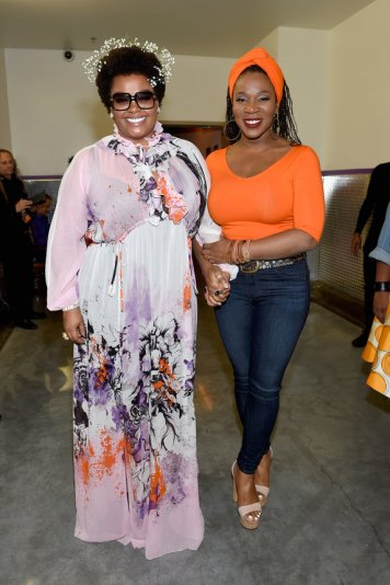 LAS VEGAS, NV - NOVEMBER 06: Singers Jill Scott (L) and India.Arie seen backstage during the 2016 Soul Train Music Awards on November 6, 2016 in Las Vegas, Nevada. (Photo by David Becker/BET/Getty Images for BET)