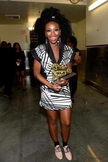 LAS VEGAS, NV - NOVEMBER 06: Honoree Brandy with her Lady of Soul Award seen backstage during the 2016 Soul Train Music Awards on November 6, 2016 in Las Vegas, Nevada. (Photo by David Becker/BET/Getty Images for BET)