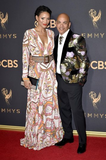 LOS ANGELES, CA - SEPTEMBER 17: Musician Rickey Minor (R) and Rachel Montez Minor attend the 69th Annual Primetime Emmy Awards at Microsoft Theater on September 17, 2017 in Los Angeles, California. (Photo by David Crotty/Patrick McMullan via Getty Images)