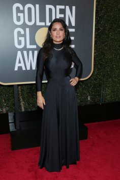 BEVERLY HILLS, CA - JANUARY 07: 75th ANNUAL GOLDEN GLOBE AWARDS -- Pictured: Actor Salma Hayek arrives to the 75th Annual Golden Globe Awards held at the Beverly Hilton Hotel on January 7, 2018. (Photo by Neilson Barnard/NBCUniversal/NBCU Photo Bank via Getty Images)