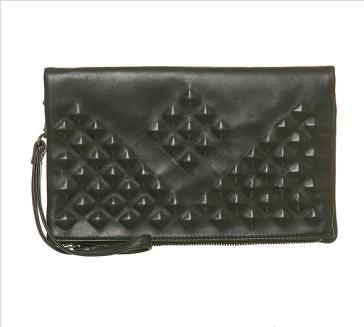 Leather Covered Studded Black Clutch $90