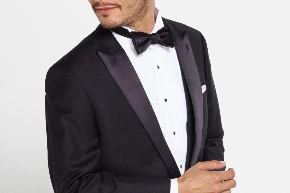 Peak lapel tuxedo.