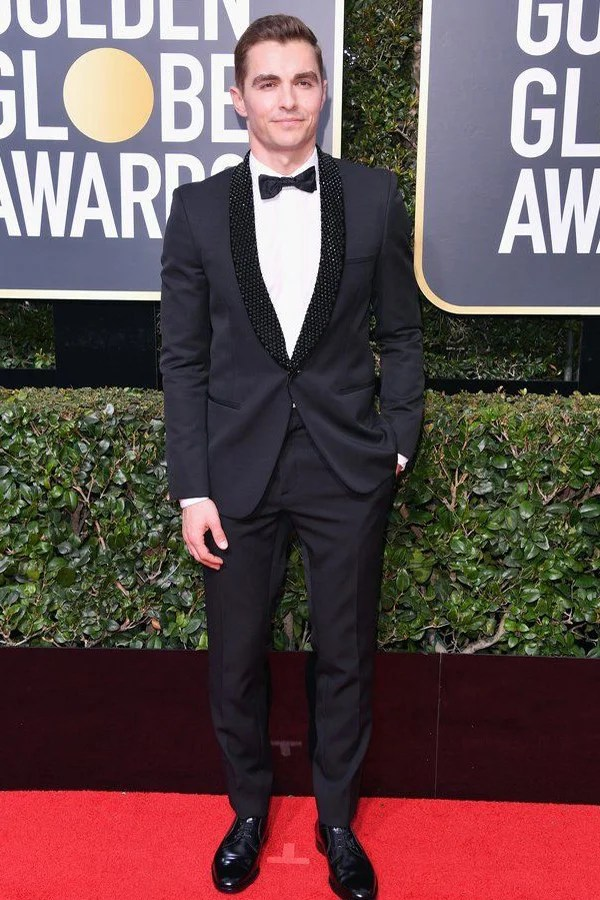 Dave Franco wears a midnight jacket tuxedo, one of our prom tux ideas.