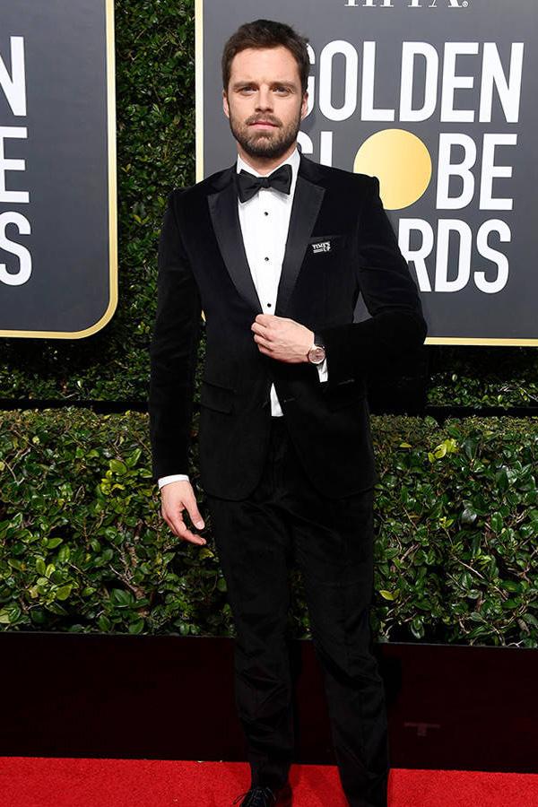 Sebastian Stan wears a corduroy prom tuxedo.