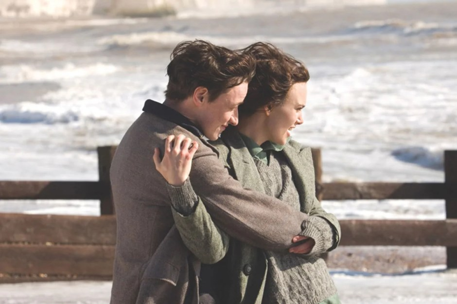 James McAvoy and Keira Knightley embrace in Atonement.
