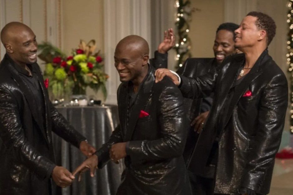 The group laughing in leather in The Best Man.