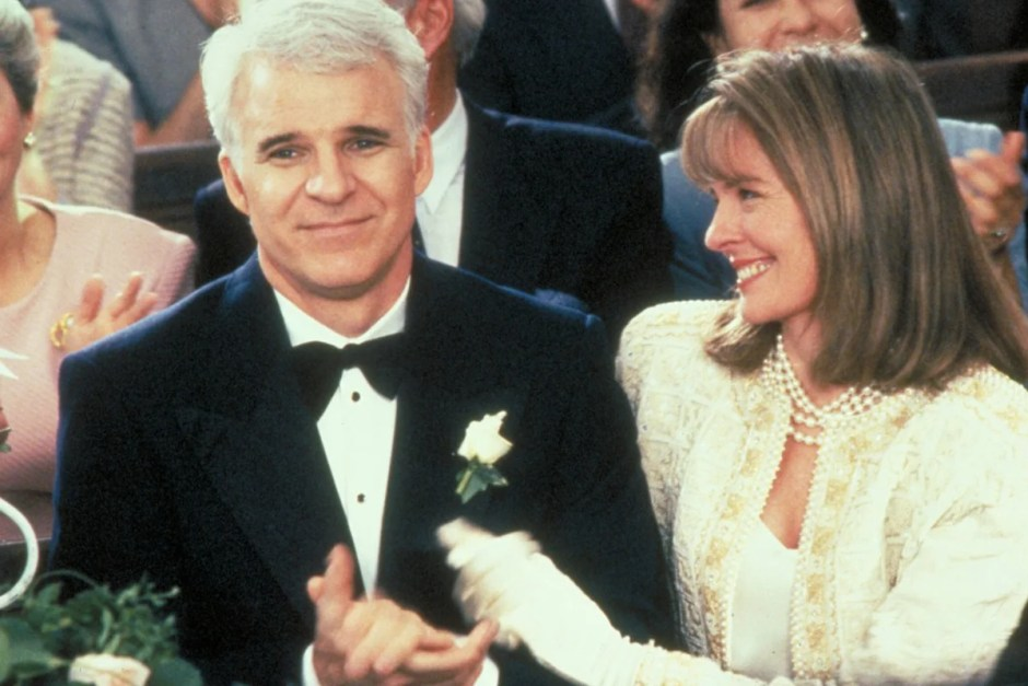 Steve Martin and Dianne Keaton watch their daughter's wedding in Father of the Bride.