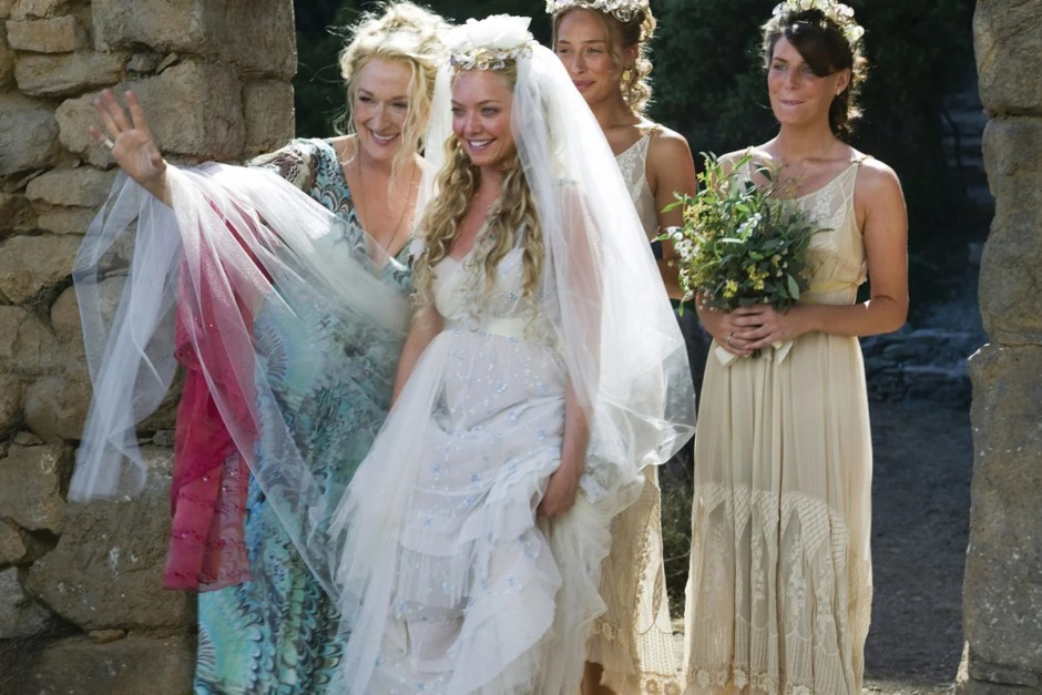 Meryl Streep looking radiant in Mamma Mia! wedding scene.