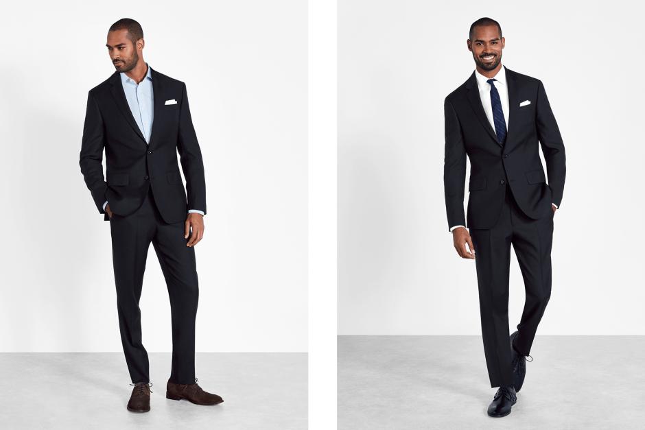Black wedding suit style for men.