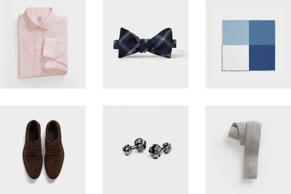 Casual groomsmen outfit accessories.