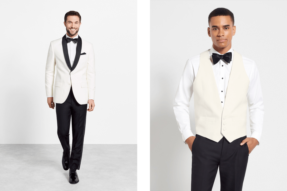 White dinner jacket tuxedo and vest.