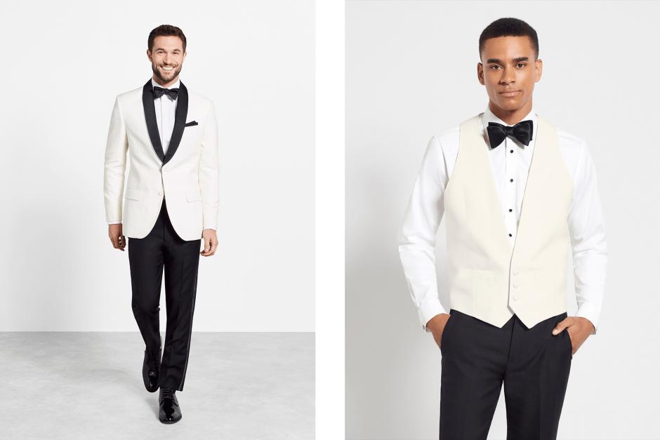 White dinner jacket tuxedo and vest.