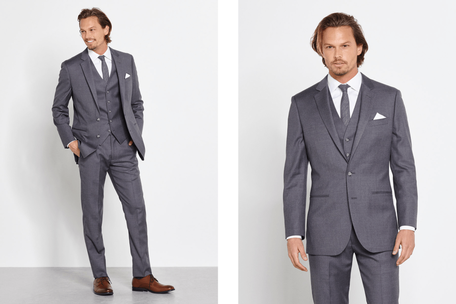 Grey suit with vest for wedding party.