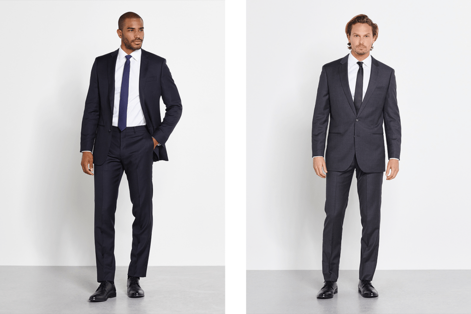 Navy suit and Charcoal suit.