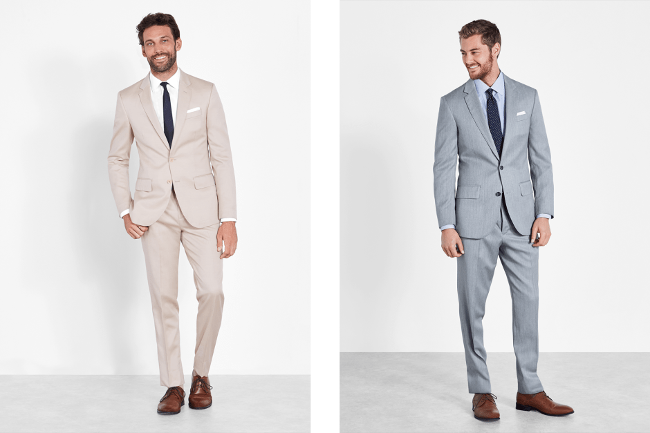 Tan suit and light grey suit.