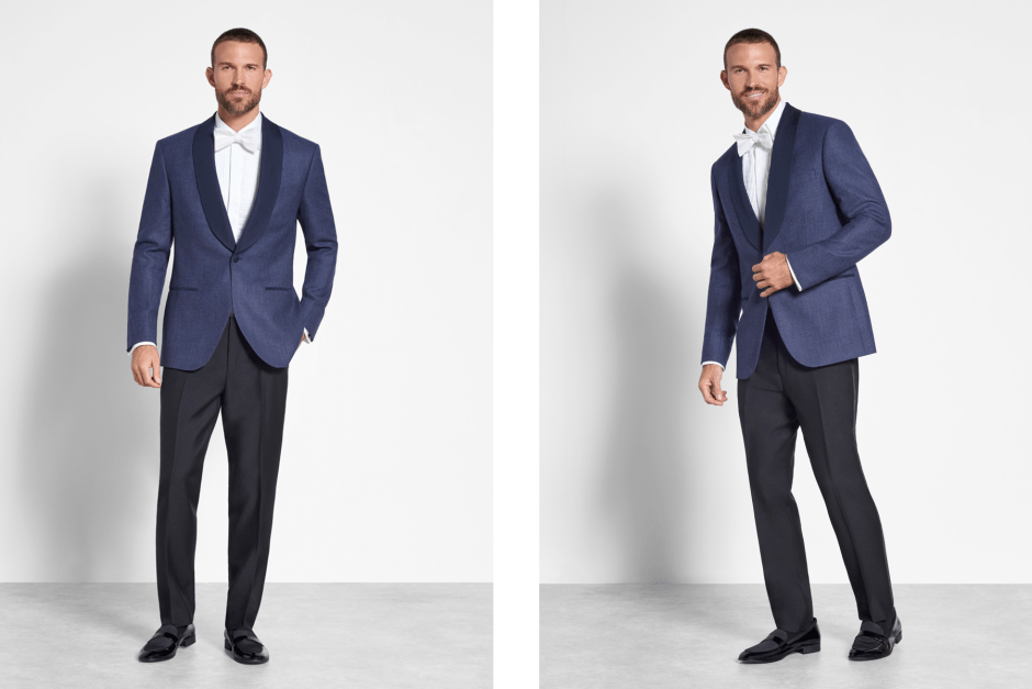 Two blue tuxedo looks.