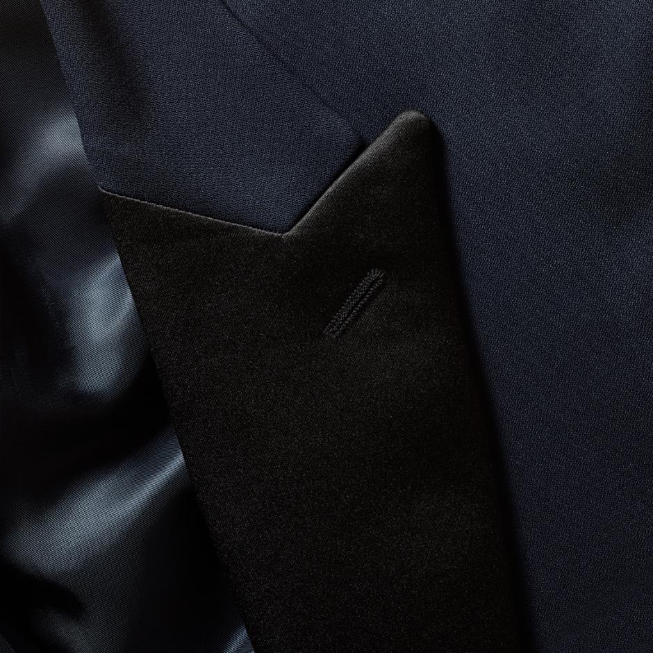 Midnight blue wedding tux fabric.