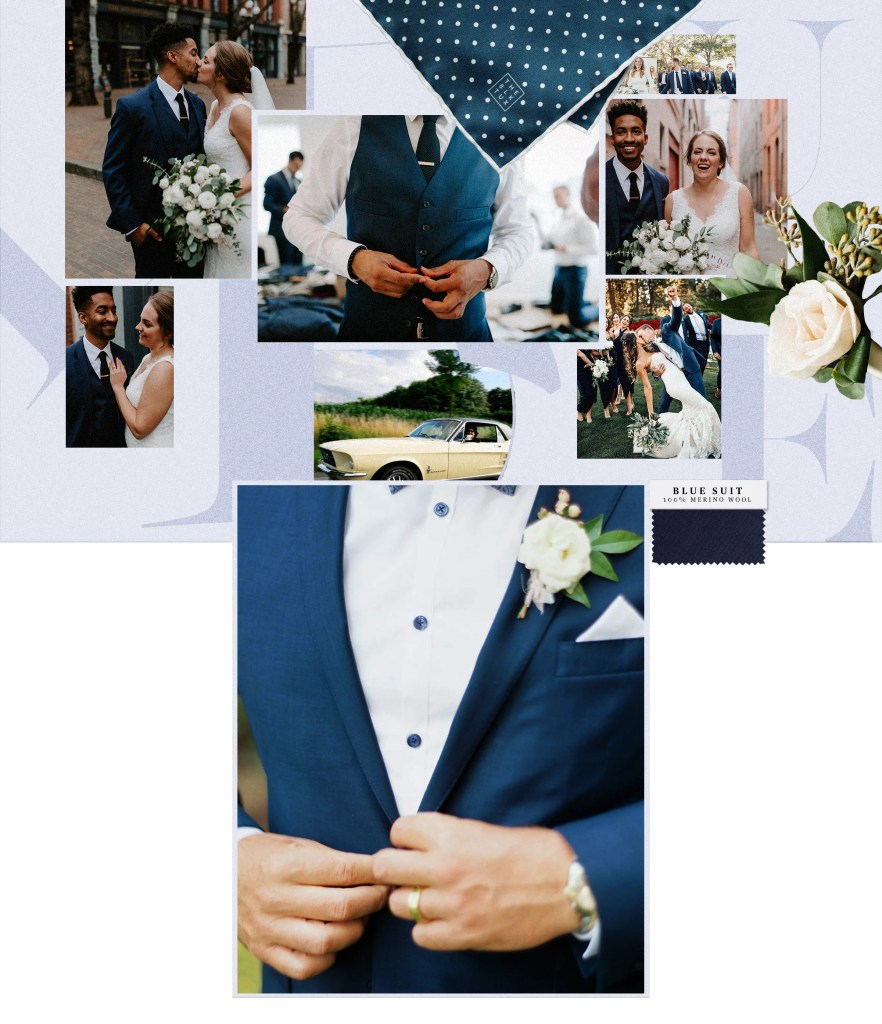 Customers wearing popular casual mens wedding attire favorite, the blue suit.