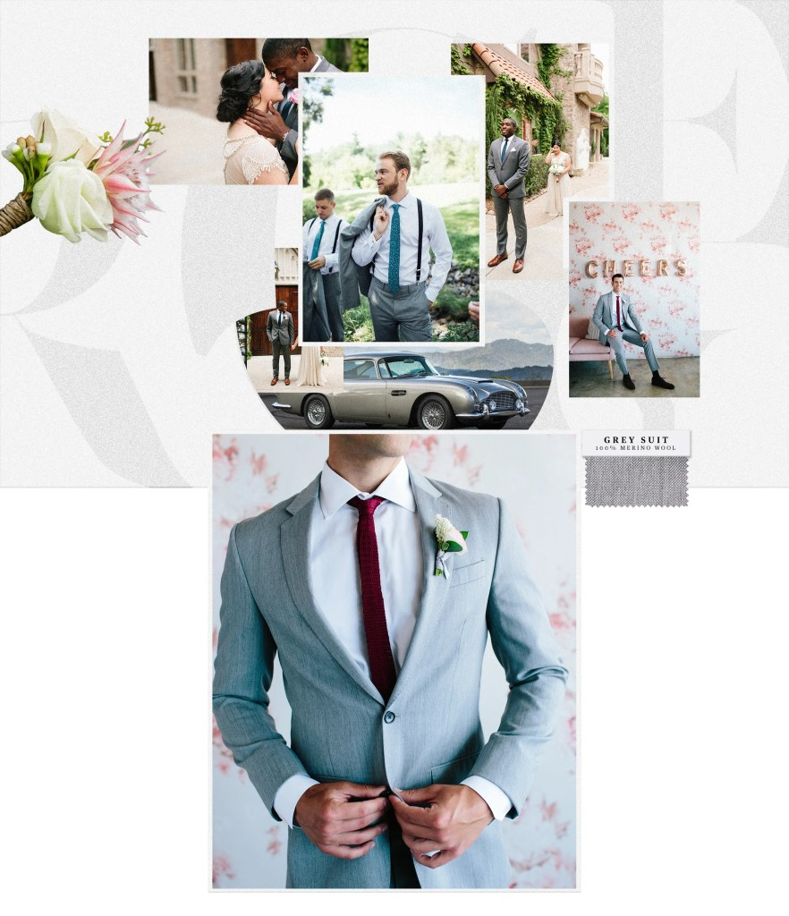Customers wearing one of the most popular summer wedding suits, the grey suit.