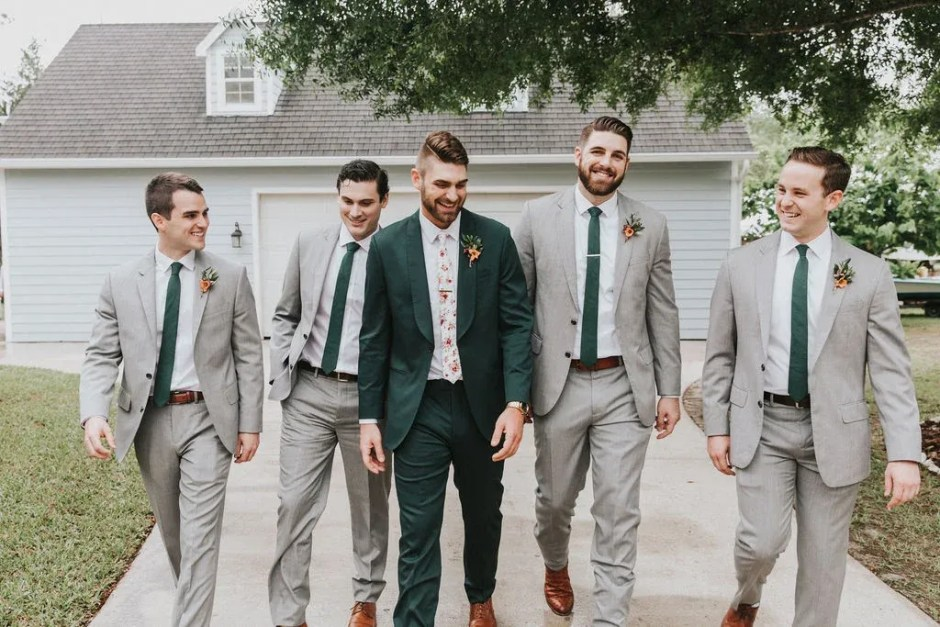 casual groomsmen attire and colorful groom suit
